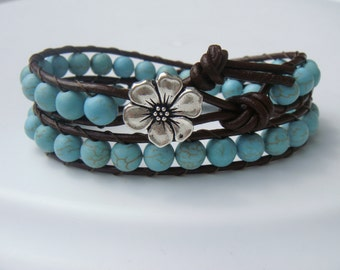 Teal Magnesite Beaded Leather Wrap Bracelet with Flower Button