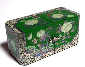 Mother of Pearl Inlay Lacquer Peony Flower Design Green Twin Cubic Wooden Jewelry Trinket Treasure Keepsake Chest Box Case Holder Organizer