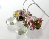 Prasiolite Tourmaline Earrings, Gemstone Cluster Earrings, Tourmaline and Green Amethyst Earrings, SALE