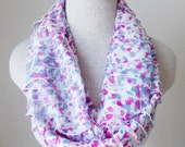 Ruffle Loop Infinity Scarf in White, Pink, and Purple