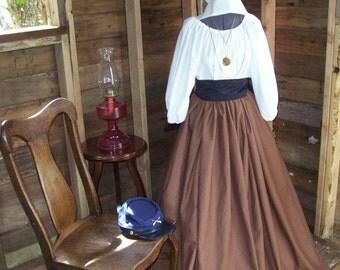 Girls Civil War Colonial Prairie Pioneer Day Dress skirt sash blouse and Sash 3 Piece