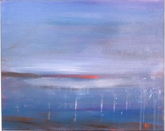 Modern seascape, Abstract blue beach painting, Large 16x20 acrylic serene abstract art