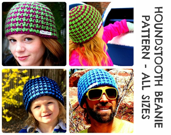 Free Crochet Pattern Houndstooth Hat : CROCHET HAT PATTERNS Houndstooth Beanie Adults & Kids