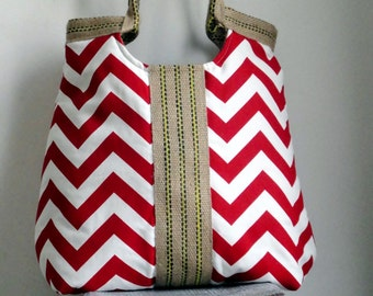 Red chevron carry on handbag with burlap