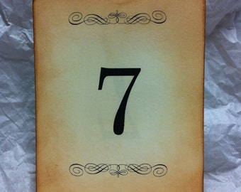 Vintage distressed wedding reception table numbers