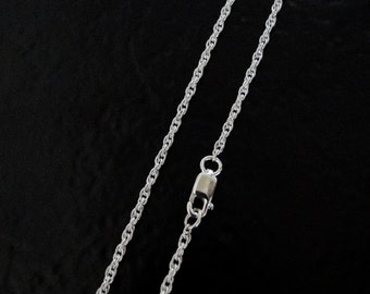 36 Inch - Sterling Silver 1.6mm Rope Chain Necklace, Made in USA