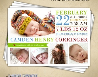 Instant Download - Photoshop PSD layered Templates for Photographers - Birth Announcement - Camden Henry Design