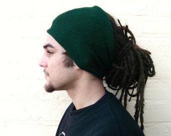 Green dreadlocks accessory, mens knit headband, wide hair wrap.