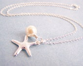 Starfish and Ivory Glass Pearl Necklace - Matching earrings and bracelet also available - other color pearls available - sets - weddings