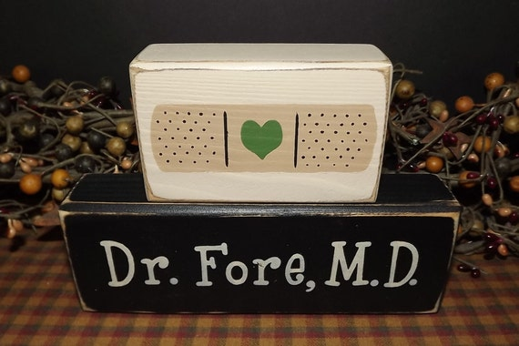 Doctor MD Custom Personalized primitive wood blocks