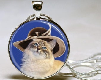 Sophisticated Kitty, Cat in a Hat, Cat Outfit, Cat with Blue Eyes, Tan Cat, Cream, Round Art Photo or Square with chain and style