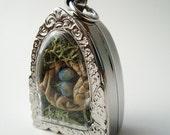 Terrarium Necklace, Where Life Begins, Gift for Mom, Mini Nest Locket Necklace, Quote Jewelry, Terrarium Necklace LK32