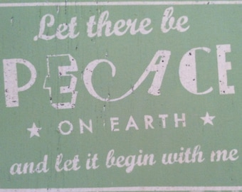 Let There Be Peace On Earth Rustic Wooden Sign - 12x16