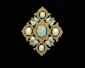 Turquoise Pin, Vintage Coventry, Statement Pin, Vintage Turquoise Pin, Vintage SARAH COVENTRY, Faux Stone Pearl, Remembrance, Brooch Pendant