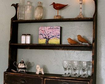 Wood - Wooden Shelf - Hanging Cupboard - Rustic Primitive - Distressed Furniture - Kitchen Decor