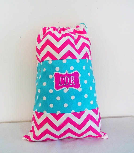Laundry Bag, Large 16 X 24 With Drawstring Closure, Hot Pink Chevron, Aqua Dots, Durable, Bright, Summer Camp Bag