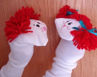 Set of 2 Sock Puppets Boy and  Girl with red yarn hair daycare school sunday school VBS