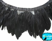 Feather Trim, 1 Yard - BLACK Goose Nagoire and Satinettes Feather Trim   : 1233