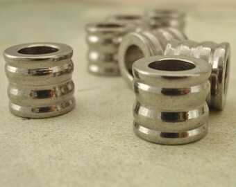 2 Stainless Steel Ribbed Tube Beads -  5mm Opening - 10 x 9mm