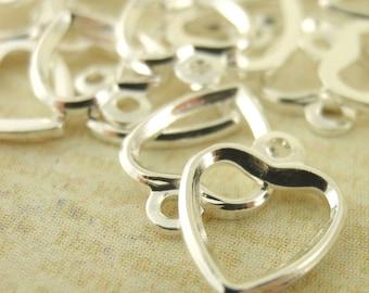 25 Silver Plated Heart Drops - Handmade Jump Rings Included - 100% Guarantee