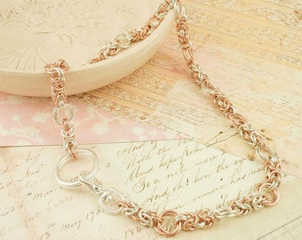 Heirloom Necklace Kit - 14kt Rose Gold Filled and Argentium Sterling Silver Chainmaille