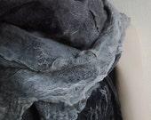 Light gray Dark gray White  Cotton Wool Silk Wearable Boho Art Fashion Felt Nuno Felted Irregular Big Scarf OOAK