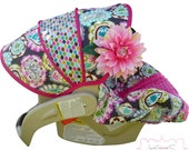 Rocco Paisley Infant Car Seat Cover With Hot Pink--Moves to Toddler