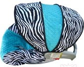 Zebra with TEAL Infant Car Seat Cover