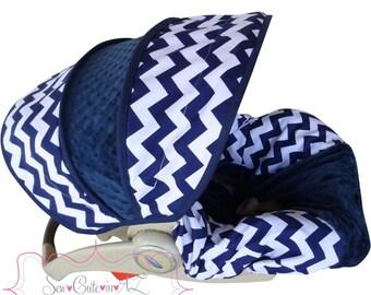 Infant Car Seat Cover Navy Chevron