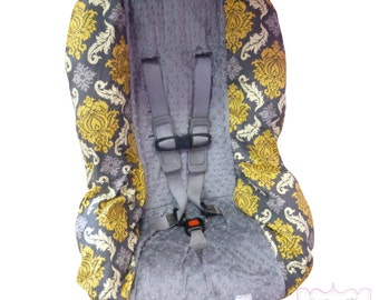 Toddler Car Seat Cover Granite Damask with Charcoal