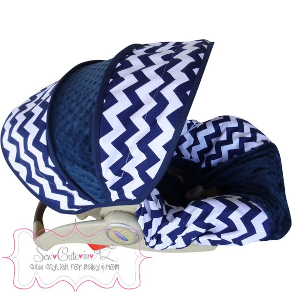 Infant Car Seat Cover Navy Chevron