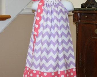 purple spring chevron Pillowcase dress riley blake purple pink polka dot toddler dress 3, 6, 9, 12, 18 mo 2t, 3t, 4T