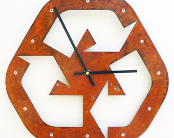 Recycle I, Medium, Rustic Wall Clock, Unique Wall Clock, Modern Wall Clock, Steampunk Home Decor, Metal Art, Industrial, Laser Cut, Guy Gift
