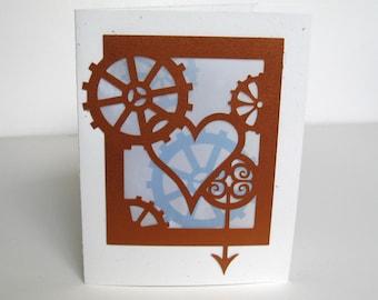 Steampunk Greeting Card Valentine Steam Punk Love Cut Paper Silhouette Art