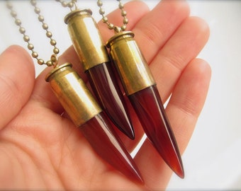 Dark Carnelian & Bullet Pendant Necklace - Glowing Red Stone Point set into Brass Bullet Casing on Chain or Keychain