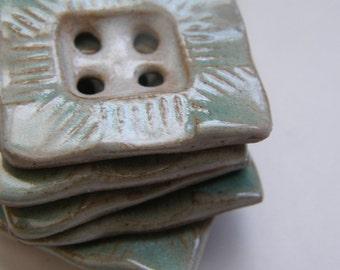 aqua rectangle ceramic buttons