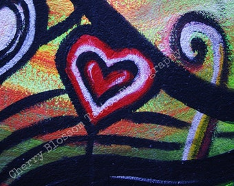 Heart street art, colourful heart, Belfast graffiti, red heart, red white black, rainbow,  'Love' - fine art digital photographic print