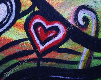 Heart street art, colourful heart, Belfast graffiti, red heart, red white black, rainbow,  'Love' - fine art digital photographic print