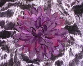 Single Purple Chrysanthemum Flower Hair Clip Barrette