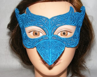 Teal blue bird embroidered lace mask