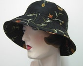 La Boheme hat, sun hat, embroidery, flowers, Black embroidered silk. FREE SHIPPING in the US.