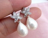 Bridal Earrings White Teardrop Shell Pearl with White Gold Plated Starfish Star Fish CZ Post Earring