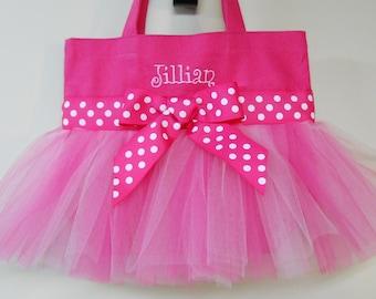Dance bag, tutu tote bag, Embroidered Tote Bag Hot Pink Tote Bag with Pink Tulle and Pink Polka Dot RibbonTutu Ballet Bag TB199 CH