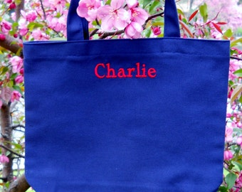 Dance bag, child's tote bag, embroidered Canvas tote bag, MINI Tote Bag, Personalized tote bag,  MBTB298