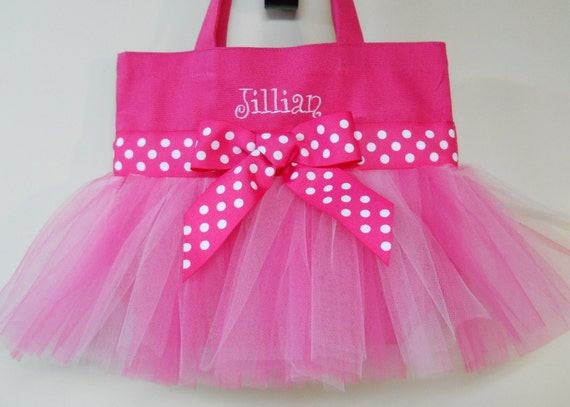 Embroidered Tote Bag - Hot Pink Tote Bag with Pink Tulle and Pink Polka Dot Ribbon Tutu Tote Bag  TB199  Ch