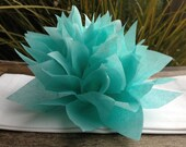 10 Aqua Paper Dahlias. Napkin rings, table settings, eco weddings, fun dinner parties. Tissue paper pom pom flowers.