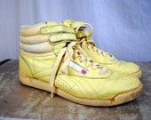 Vintage 80's Reebok Yellow New Wave High Tops Sneakers Boots - Size 8