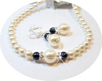 Navy Blue Necklace and Earrings, Wedding Jewelry, Bridesmaid Jewelry, Pearl Jewelry Set, Blue, Ivory, Dark Blue, Wedding Jewelry