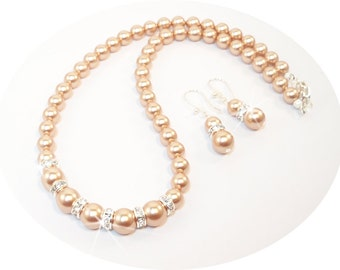 Rose Gold Pearls, Bridal Jewelry, Mother of Bride, Mother of Groom, Rose Gold, Bridal Accessories, Bridesmaid Jewelry, Wedding Jewelry