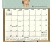 2017 CALENDAR - Yellow Labrador Retriever  Dog Wooden  Calendar Holder filled with a 2017 calendar & an order form page for 2018.